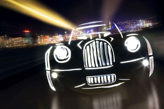 iconic cars by light graffiti