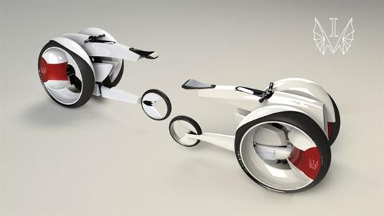 All-electric Monobike Concept Parks Vertically 02