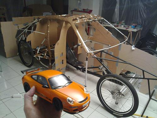 Pedal-Powered Cardboard Porsche - World's Slowest Porsche 03