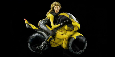 Human Motorcycle Made by Painted Yoga Experts - 01