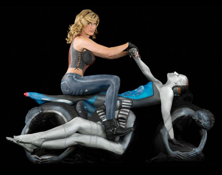Human Motorcycle Made by Painted Yoga Experts - 02