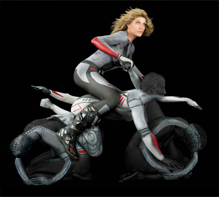 Human Motorcycle Made by Painted Yoga Experts - 03