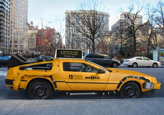 DeLorean as an Iconic New York City Yellow Taxi Cab - 01