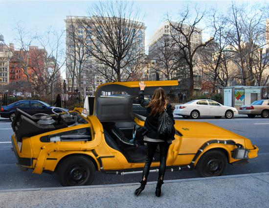 DeLorean as an Iconic New York City Yellow Taxi Cab - 02