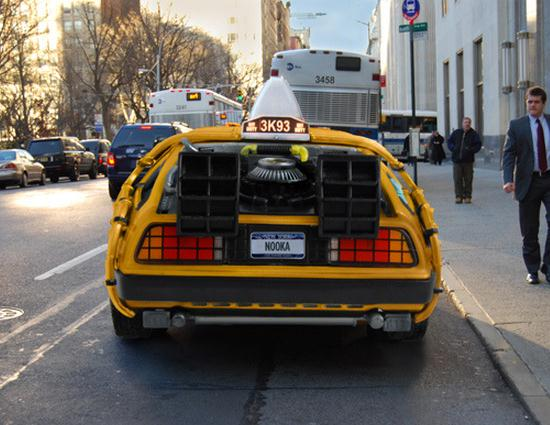 DeLorean as an Iconic New York City Yellow Taxi Cab - 03
