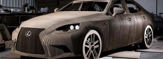 Origami Replica of the Lexus IS in the ratio of 1: 1 With the Electric Motor