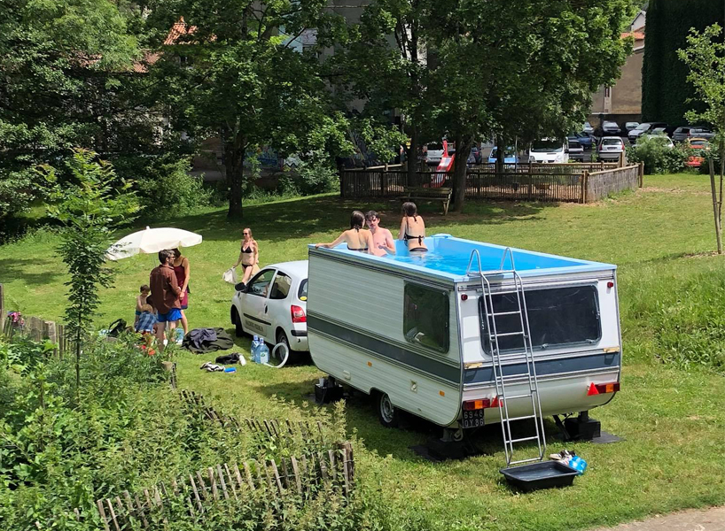 Caravan Van Swimming Pool Made by Benedetto Bufalino