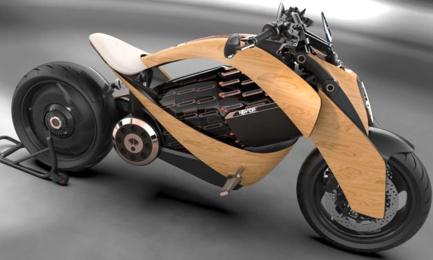 Electric Motorcycle with Wooden Body by Newron